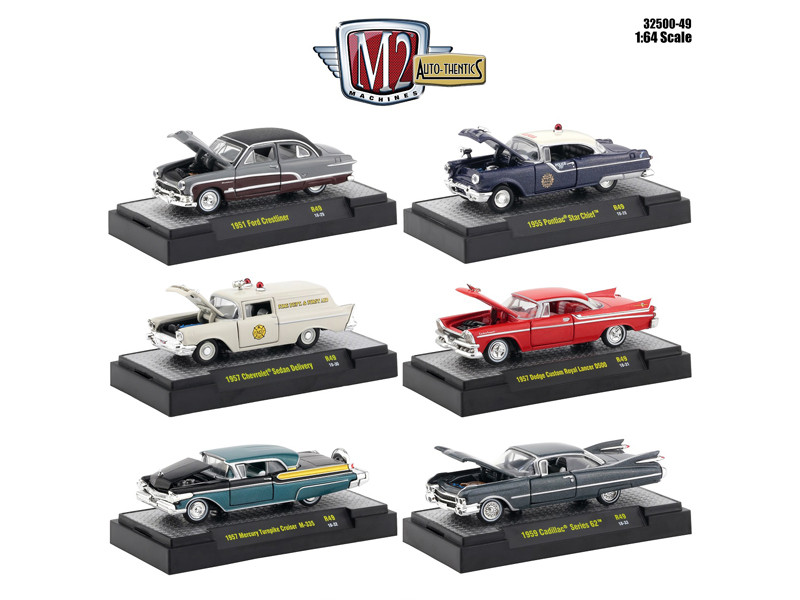 Auto Thentics 6 Piece Set Release 49 DISPLAY CASES 1/64 Diecast Model Cars M2 Machines 32500-49
