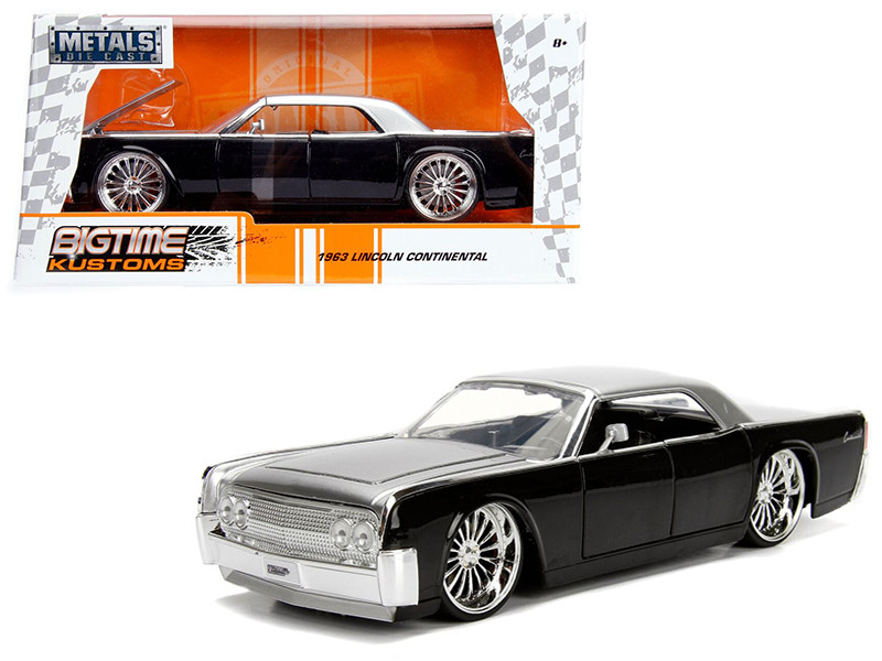 1963 Lincoln Continental Black Silver Top 1/24 Diecast Model Car Jada 99553