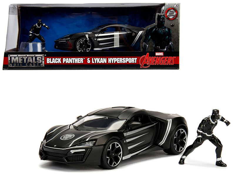 Lykan Hypersport Black Black Panther Diecast Figure Marvel Series 1/24 Diecast Model Car Jada 99723