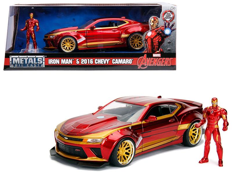 2016 Chevrolet Camaro Iron Man Diecast Figure Marvel Series 1/24 Diecast Model Car Jada 99724