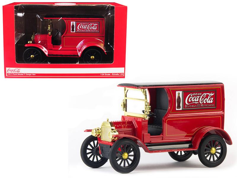 1917 Ford Model T Cargo Van Coca Cola Red Black Top 1/24 Diecast Model Car Motorcity Classics 424197