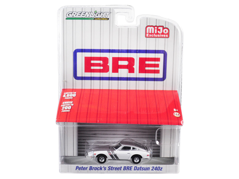 Datsun 240Z BRE Edition Brock Racing Enterprises Peter Brock's Street White Silver Top Stripes Limited Edition 4600 pieces Worldwide 1/64 Diecast Model Car Greenlight 51157