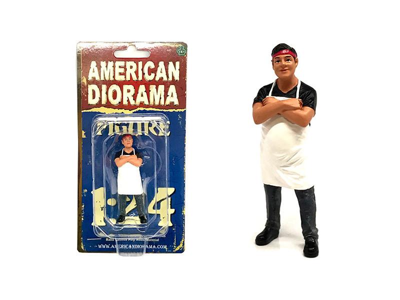 Food Truck Chef Victor Figure 1/24 Scale Models American Diorama 38441