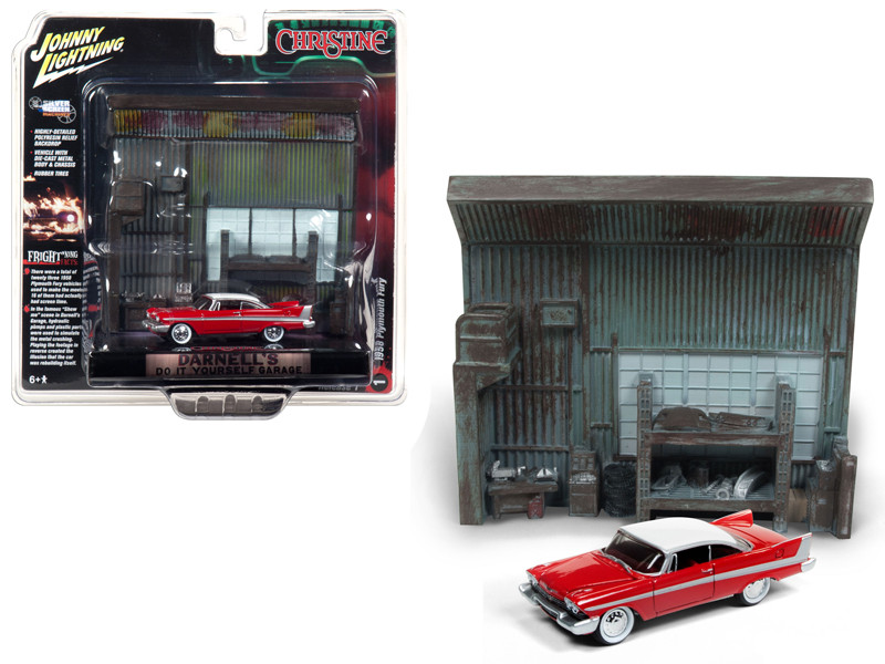 1958 Plymouth Fury Red Darnell's Garage Interior Diorama Christine 1983 Movie 1/64 Diecast Model Johnny Lightning JLDR002