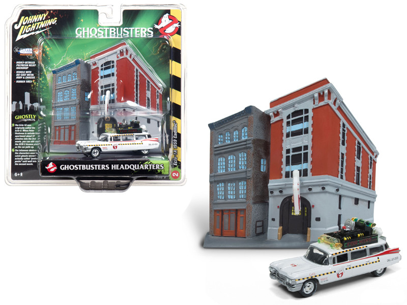 1959 Cadillac Ecto-1A Ambulance Firehouse Exterior Diorama Ghostbusters II 1989 Movie 1/64 Diecast Model Johnny Lightning JLDR002
