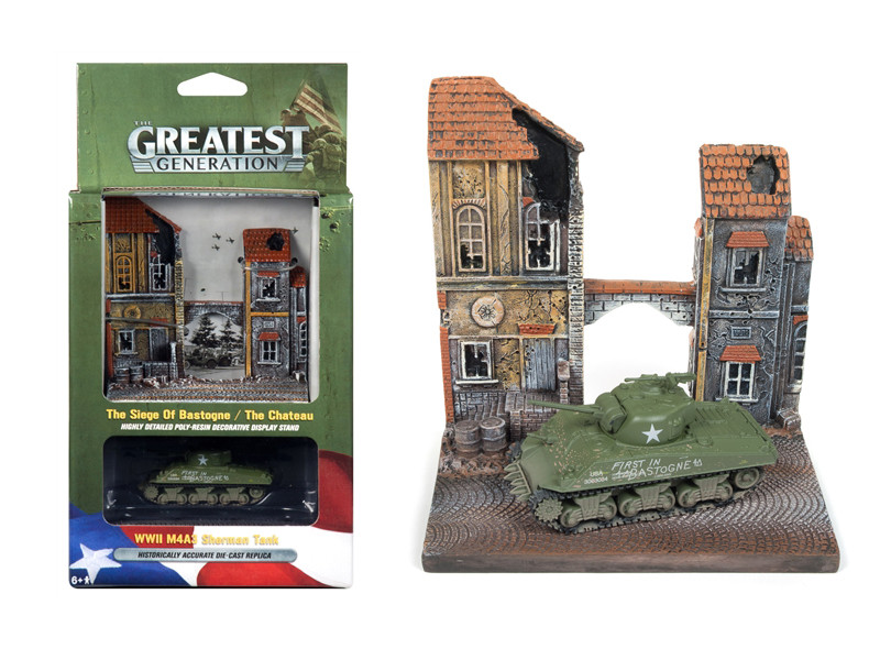 Military WWII M4A3 Sherman Tank The Chateau Resin Display Diorama The Greatest Generation Series 1/100 Diecast Model Johnny Lightning JLDS001
