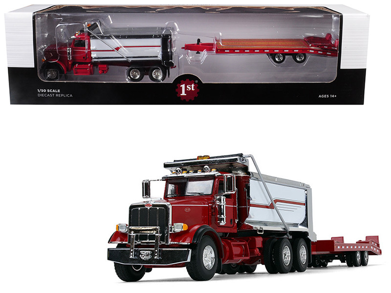 Peterbilt Model 367 Tandem Axle Dump Truck Beavertail Trailer Red Chrome White 1/50 Diecast Model First Gear 50-3404