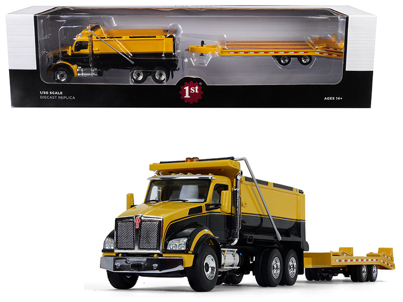 Kenworth T880 Tandem Axle Dump Truck Beavertail Trailer Yellow Black 1/50 Diecast Model First Gear 50-3406