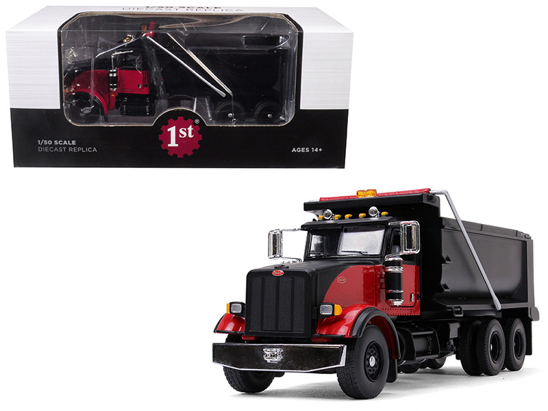 Peterbilt Model 367 Tandem Axle Dump Truck Black Red 1/50 Diecast Model First Gear 50-3407