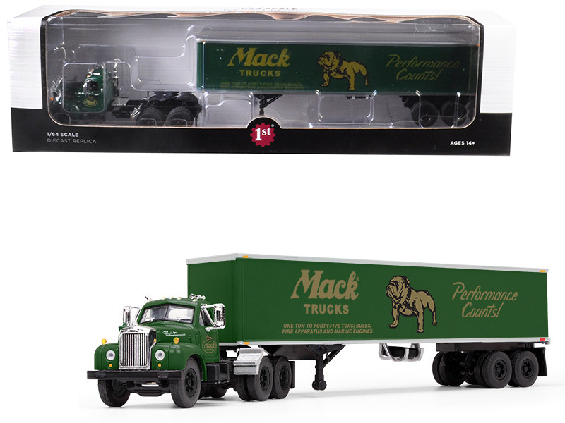 Mack B-61 Day Cab 40 Vintage Trailer Mack Trucks Performance Counts Green 1/64 Diecast Model First Gear 60-0402