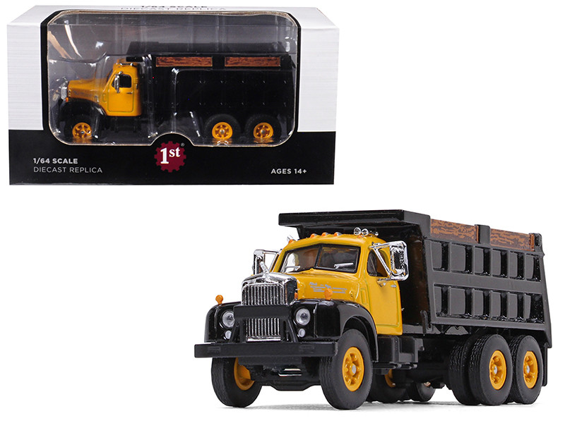 Mack B-61 Tandem Axle Dump Truck Yellow Cab Black Body 1/64 Diecast Model First Gear 60-0403