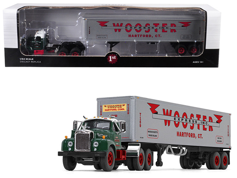 Mack B-61 Day Cab Green 40 Vintage Trailer Wooster Express Inc 15th Fallen Flag Series 1/64 Diecast Model First Gear 60-0410