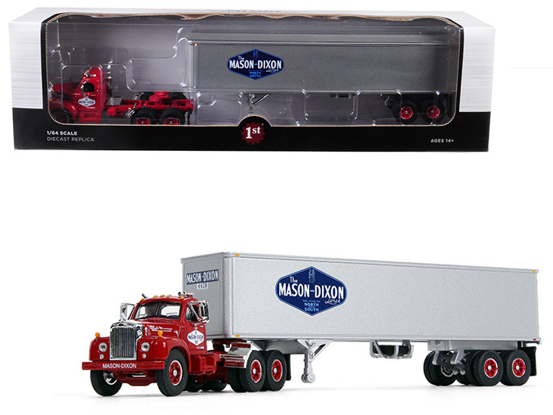 Mack B-61 Day Cab Red 40 Vintage Trailer Mason Dixon Lines 17th Fallen Flag Series 1/64 Diecast Model First Gear 60-0411