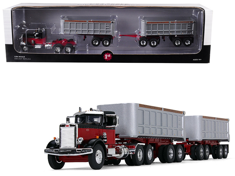 Peterbilt Model 351 Day Cab Black Red Dual 22 End Dump Trailers 1/64 Diecast Model First Gear 60-0414