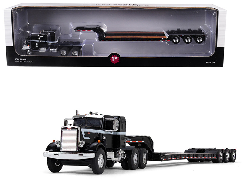 Peterbilt Model 351 Sleeper Cab 36 Tri Axle Lowboy Trailer Black 1/64 Diecast Model First Gear 60-0415