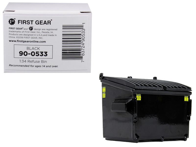 Refuse Trash Bin Black 1/34 Diecast Model First Gear 90-0533