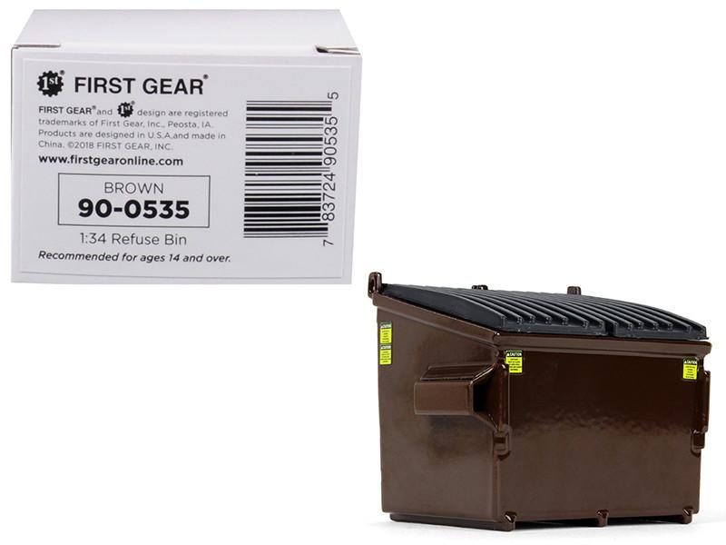 Refuse Trash Bin Brown 1/34 Diecast Model First Gear 90-0535