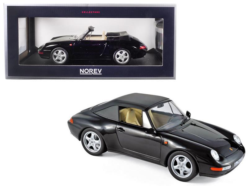 1993 Porsche 911 Carrera Cabriolet Black 1/18 Diecast Model Car Norev 187595