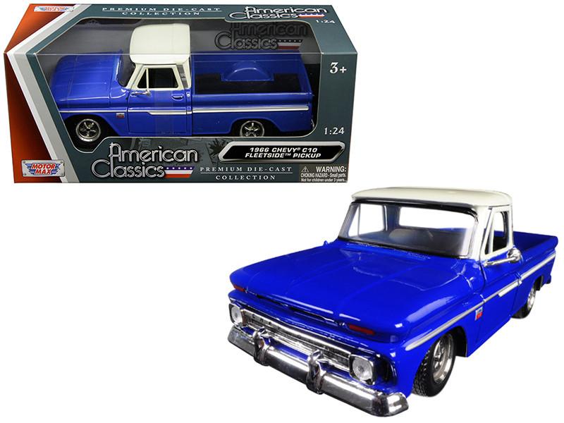 1966 Chevrolet C10 Fleetside Pickup Truck Blue Cream Top 1/24 Diecast Car Model Motormax 73355