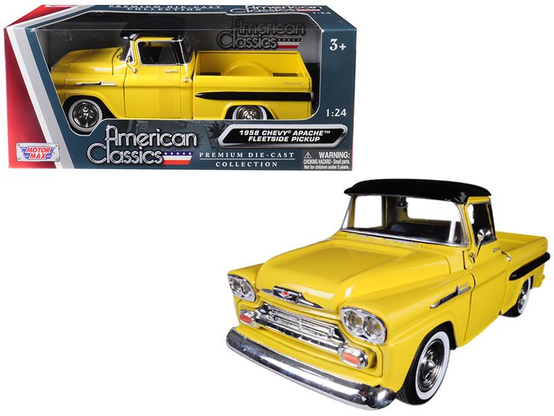 1958 Chevrolet Apache Fleetside Pickup Truck Yellow Black Top 1/24 Diecast Model Car Motormax 79311