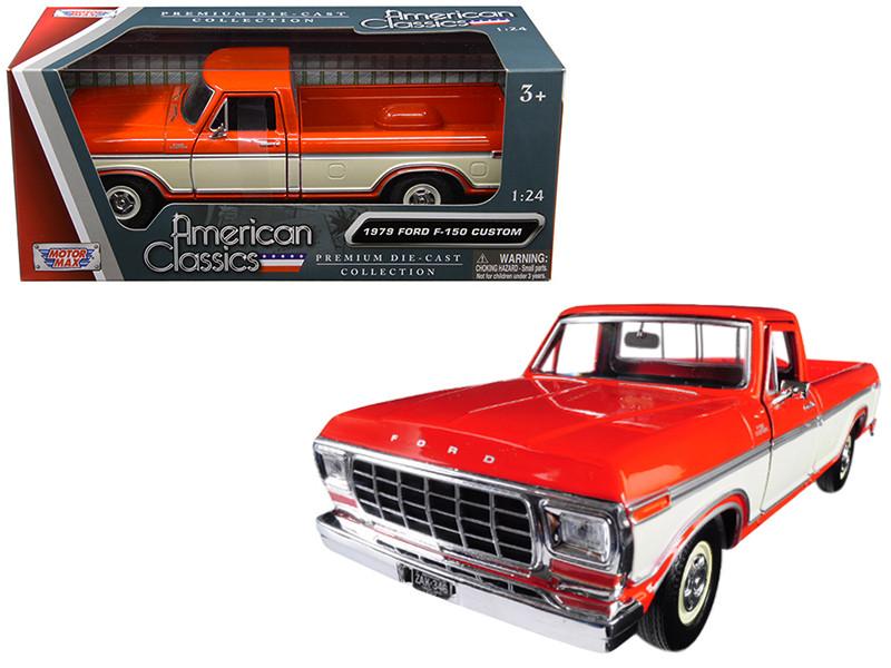 1979 Ford F-150 Custom Pickup Truck Orange Cream 1/24 Diecast Model Car Motormax 79346