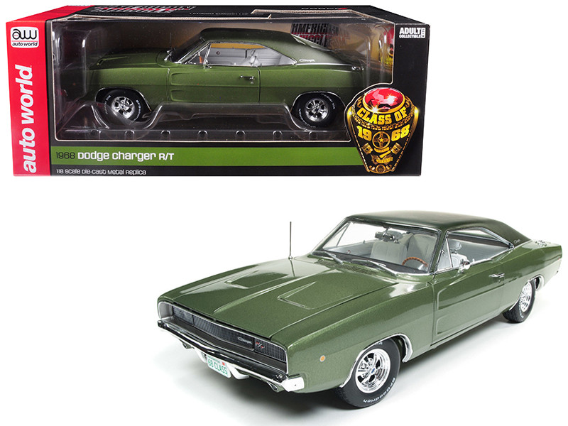 1968 Dodge Charger R/T Medium Green Metallic Class 68 50 Anniversary Limited Edition 1002 pieces Worldwide 1/18 Diecast Model Car Autoworld AMM1140
