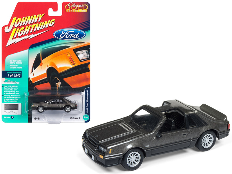 1982 Ford Mustang GT 5.0 Dark Gray Metallic Classic Gold Limited Edition 4540 pieces Worldwide 1/64 Diecast Model Car Johnny Lightning JLSP013 B