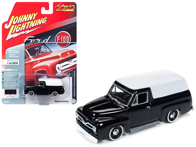 1955 Ford F100 Panel Delivery Gloss Black White Top Classic Gold Limited Edition 2016 pieces Worldwide 1/64 Diecast Model Car Johnny Lightning JLSP030