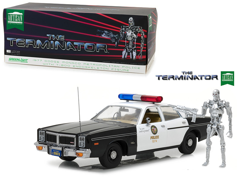 1977 Dodge Monaco Metropolitan Police T-800 Endoskeleton Figure The Terminator 1984 Movie 1/18 Diecast Model Car Greenlight 19042