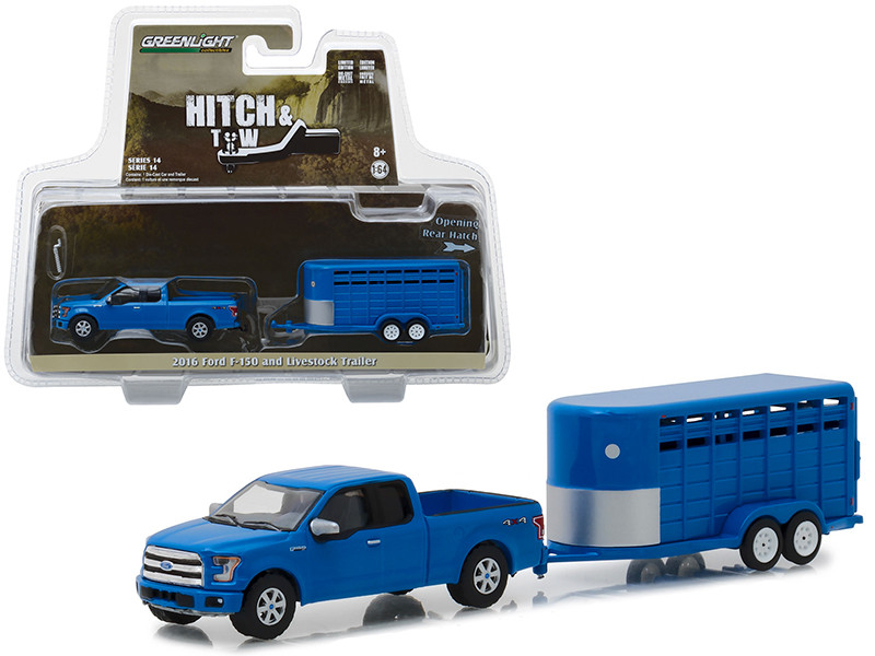 2016 Ford F-150 4X4 Pickup Truck Livestock Trailer Blue Hitch Tow Series 14 1/64 Diecast Models Greenlight 32140 C