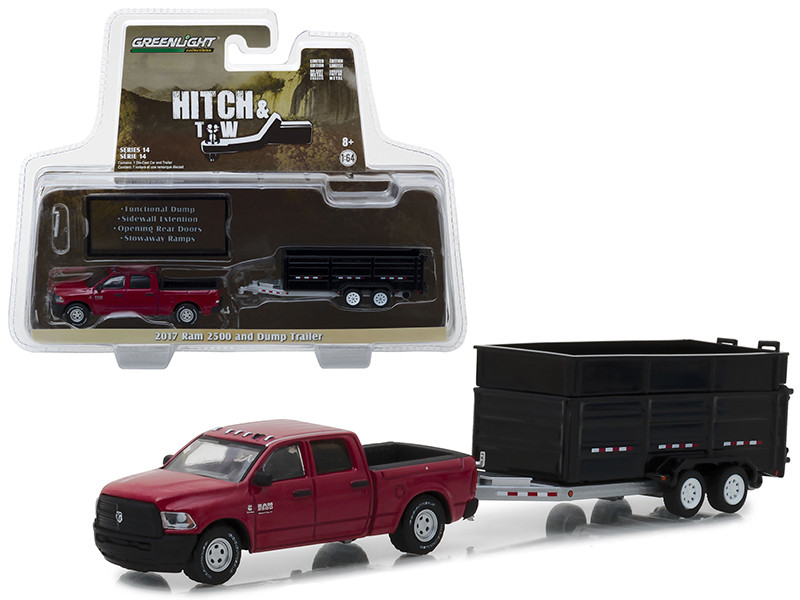 2017 Dodge Ram 2500 Pickup Truck Red Black Double Axle Dump Trailer Hitch Tow Series 14 1/64 Diecast Models Greenlight 32140 D