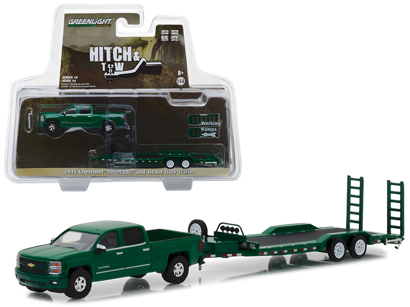 2015 Chevrolet Silverado Pickup Truck Heavy Duty Car Trailer Green Hitch Tow Series 14 1/64 Diecast Models Greenlight 32140 B