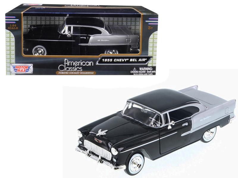 1955 Chevrolet Bel Air Black Silver 1/24 Diecast Model Car Motormax 73229