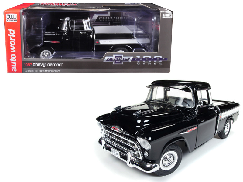 1957 Chevrolet Cameo 3124 Pickup Truck Onyx Black 100th Anniversary Limited Edition 1002 pieces Worldwide 1/18 Diecast Model Car Autoworld AMM1145