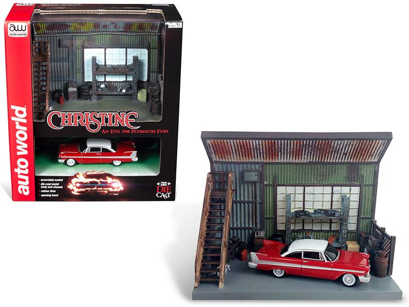 1958 Plymouth Fury Red Darnell's Garage Scenic Display Diorama Christine 1983 Movie 1/64 Diecast Model Autoworld AWSD001