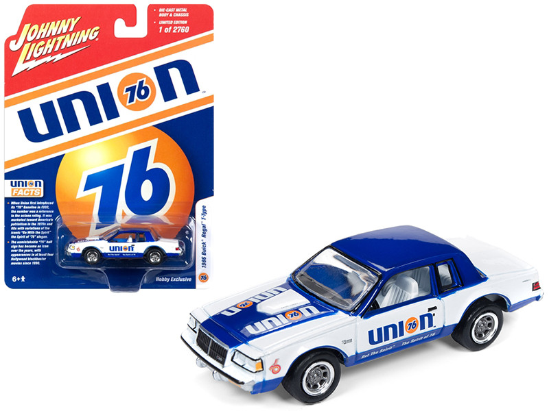 1986 Buick Regal T-Type Union 76 White Blue Limited Edition 2760 pieces Worldwide 1/64 Diecast Model Car Johnny Lightning JLSP012