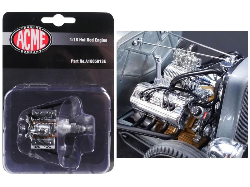 Engine Transmission Replica Chromed Blown Ardun Flathead 1932 Ford 5 Window 1/18 ACME A1805013E