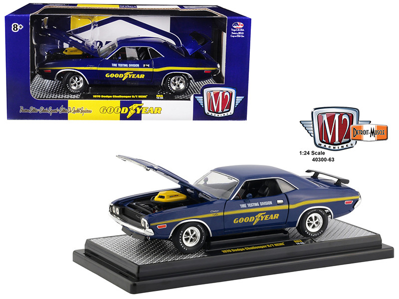 1970 Dodge Challenger R/T Hemi Goodyear Blue Yellow Stripes 1/24 Diecast Model Car Limited Edition 5880 pieces Worldwide M2 Machines 40300-63 A