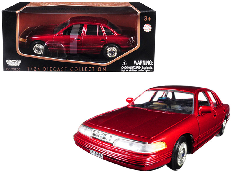 1998 Ford Crown Victoria Metallic Red 1/24 Diecast Model Car Motormax 76102
