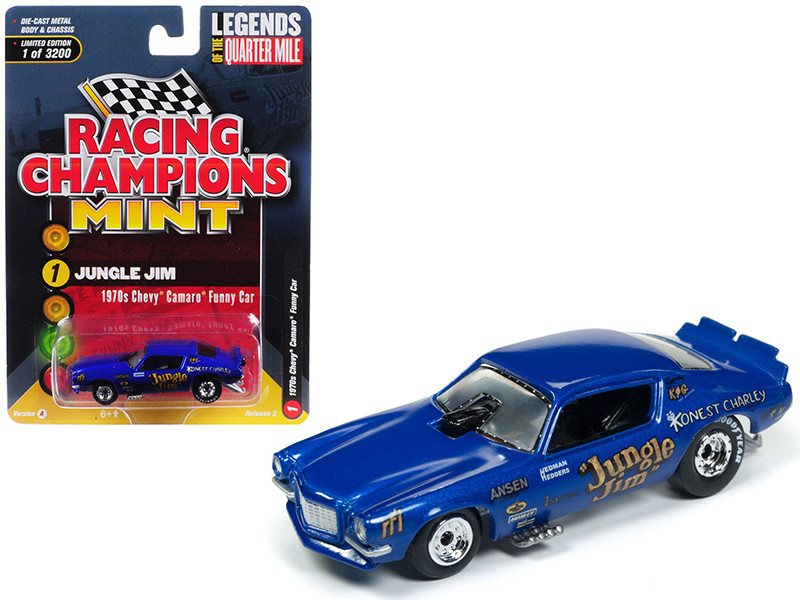 1970 Chevrolet Camaro Funny Car Jungle Jim Blue Limited Edition 3200 pieces Worldwide 1/64 Diecast Model Car Racing Champions RCSP002
