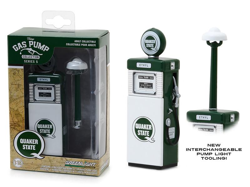1951 Wayne 505 Quaker State Pump Light Gas Pump Replica Vintage Series 5 1/18 Diecast Model Greenlight 14050 A