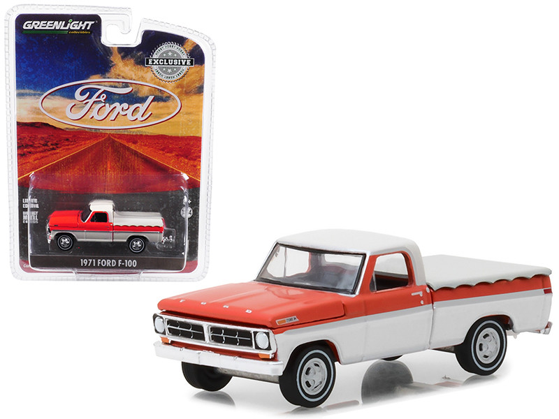 1971 Ford F-100 Pickup Truck Bed Cover White Orange Hobby Exclusive 1/64 Diecast Model Car Greenlight 29957