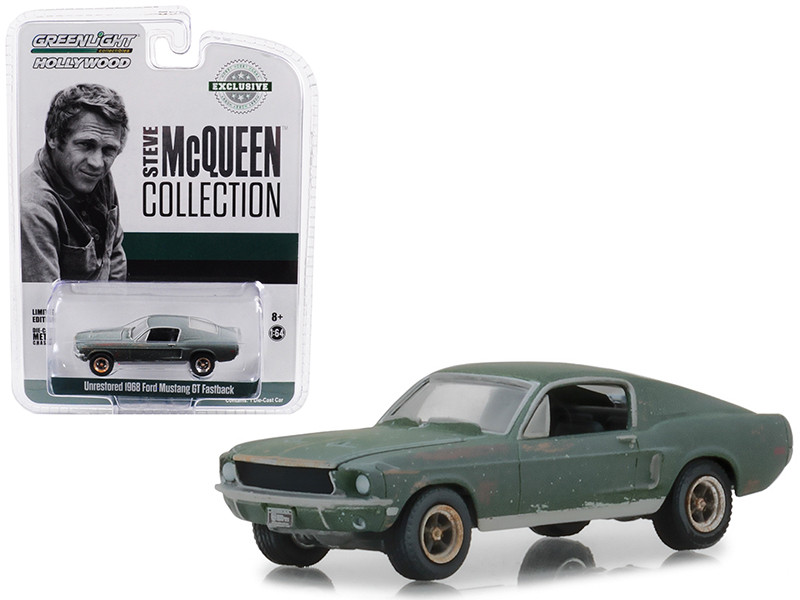 1968 Ford Mustang GT Fastback Green Unrestored Steve McQueen Collection 1930 1980 2018 Detroit Auto Show 1/64 Diecast Model Car Greenlight 44722