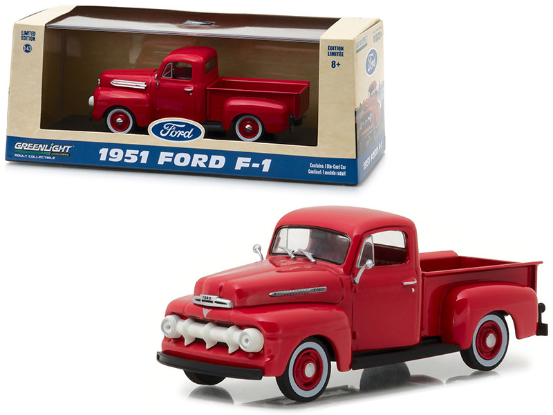 1951 Ford F-1 Pickup Truck Coral Red Flame 1/43 Diecast Model Car Greenlight 86316