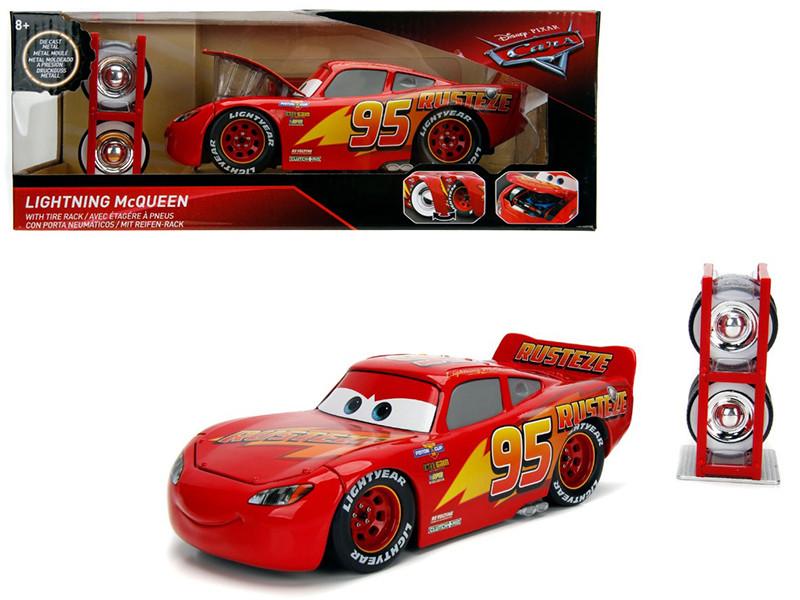 Lightning McQueen #95 Red Tire Rack Disney Pixar Cars Series Series 1/24 Diecast Model Car Jada 30214