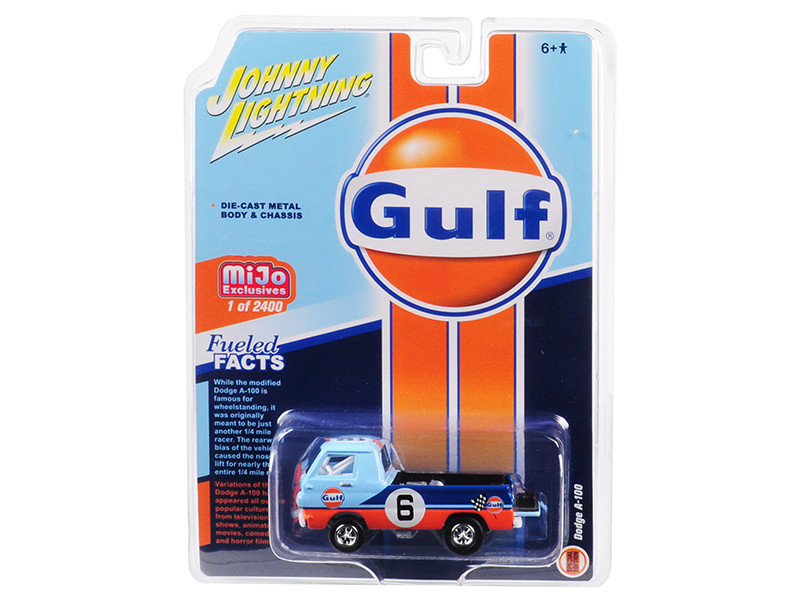 Dodge A-100 Gulf #6 Pickup Truck Limited Edition 2400 pieces Worldwide 1/64 Diecast Model Car Johnny Lightning JLCP7124