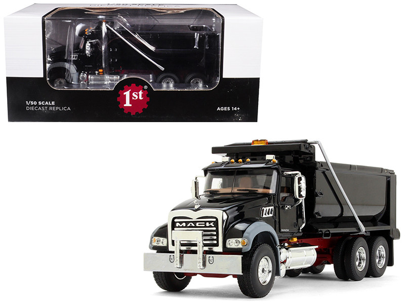 Mack Granite MP Dump Truck Black Red Chassis 1/50 Diecast Model First Gear 50-3386