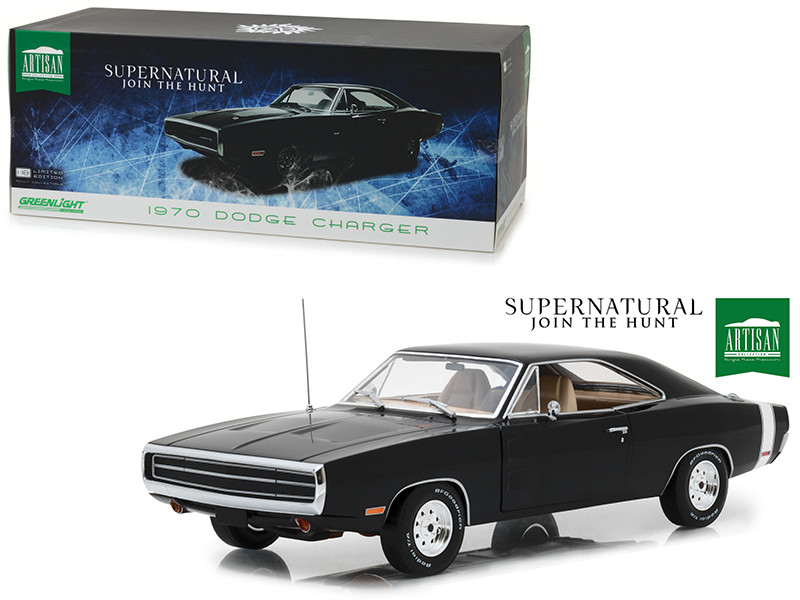 1970 Dodge Charger Black Supernatural 2005 TV Series 1/18 Diecast Model Car Greenlight 19046