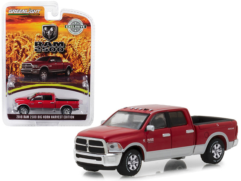 2018 Dodge Ram 2500 Big Horn Pickup Truck Red Harvest Edition Hobby Exclusive 1/64 Diecast Model Car Greenlight 29953