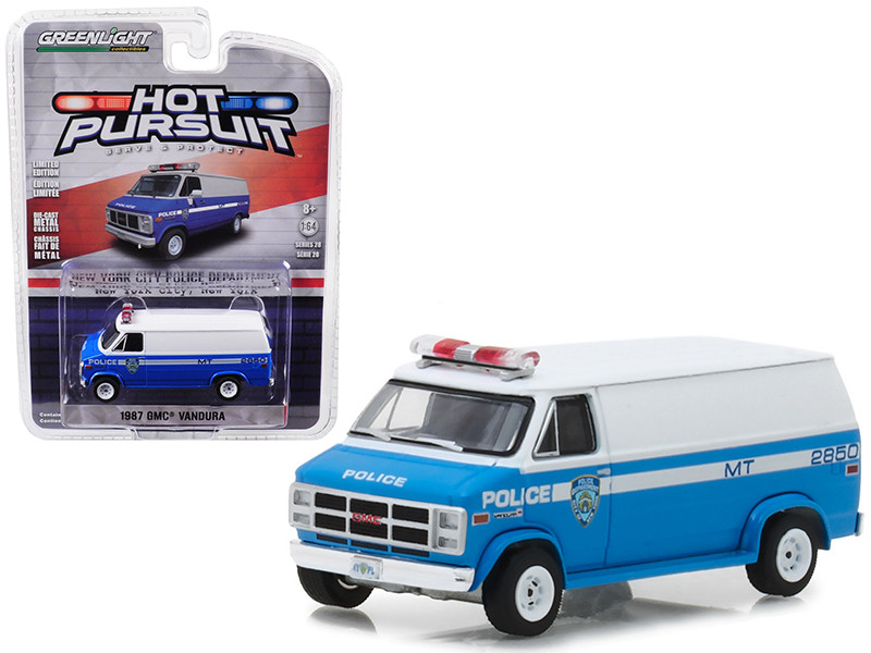 1987 GMC Vandura Van New York City Police Department NYPD Hot Pursuit Series 28 1/64 Diecast Model Car Greenlight 42850 C